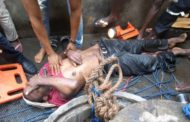 45 YEAR OLD MAN RESCUED FROM A NARROW  WELL IN LAGOS
